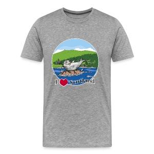 I love Scotland (Grey) - Men's Premium T-Shirt