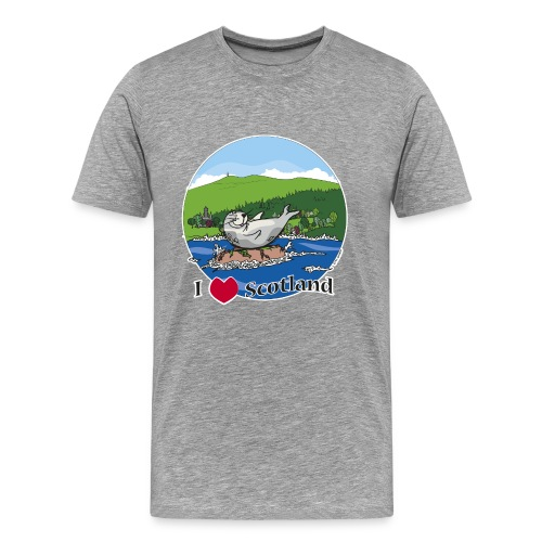 I love Scotland (Grey) - Men's Premium T-Shirt