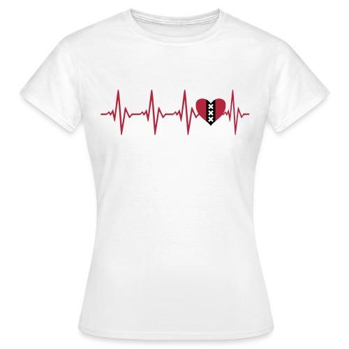 Dames t-shirt hartslag mokum - Vrouwen T-shirt