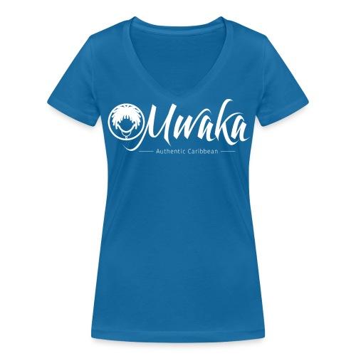 T-Shirt Femme Col V MWAKA Logo Blanc - T-shirt bio col V Stanley & Stella Femme