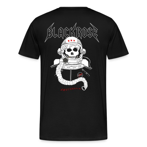 Mannen Premium T-shirt - Black Rose Austronaut - Back Print