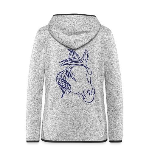 ...Dreamhorse Personalisierbar - Fleecejacke mit Armprint (Print: Navy) - Frauen Kapuzen-Fleecejacke