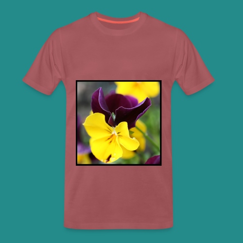 Purple & Yellow Flowers (Washed Burgundy) - Men's Premium T-Shirt