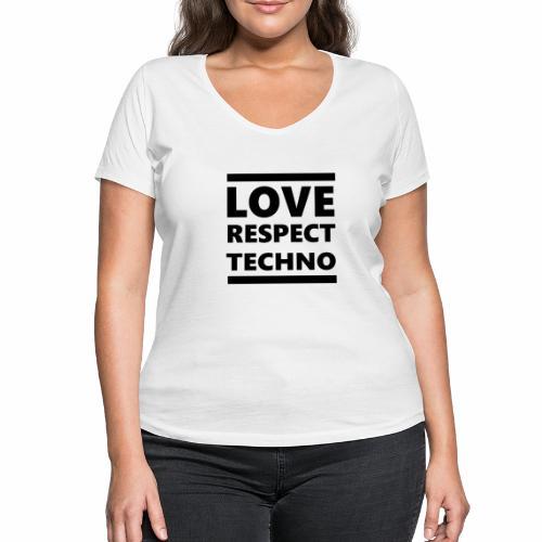 Love Respect Techno - Frauen Bio-T-Shirt mit V-Ausschnitt von Stanley & Stella