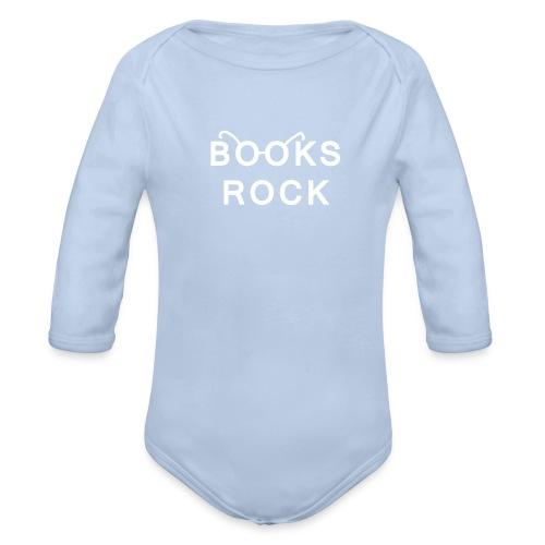 Books Rock White Glasses Baby One-Piece by Sonar - Organic Longsleeve Baby Bodysuit