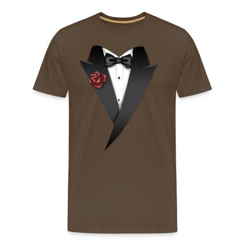 MIX - Tuxedo - Anzug Schwarz mit roter Blume und Fliege - RAHMENLOS Geburtstag Geschenk - Männer Premium T-Shirt