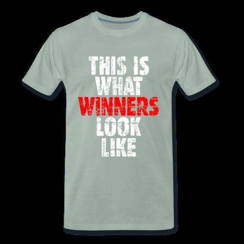 Winner T-Shirt S-5XL (Weiß/Rot) Vintage - Männer Premium T-Shirt