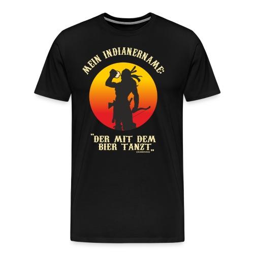 AD - mein Indianername - der mit dem Bier tanzt - Cooler Indianer mit Bier und Bogen in der Hand - R - Männer Premium T-Shirt