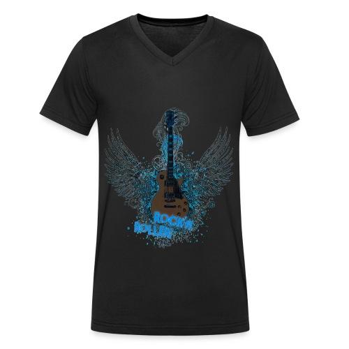 Rock Gitarre Schwarz-Blau - Männer Bio-T-Shirt mit V-Ausschnitt von Stanley & Stella