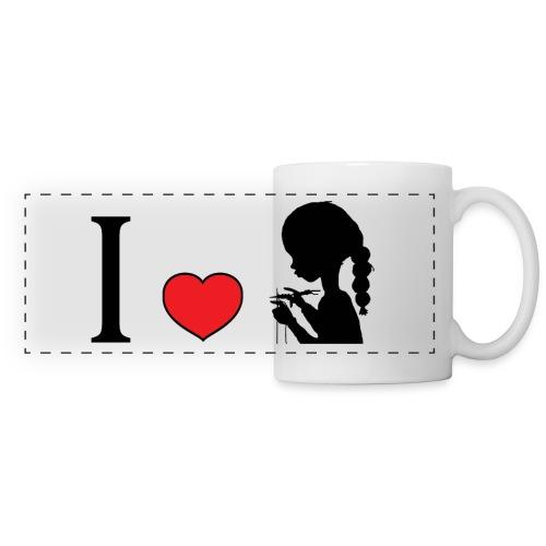 mug tasse j'aime tricoter - Mug panoramique contrasté et blanc