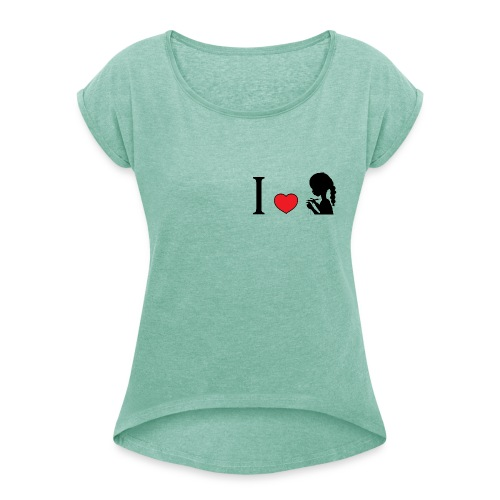 tee shirt style boyfriend j'aime tricoter - T-shirt à manches retroussées Femme