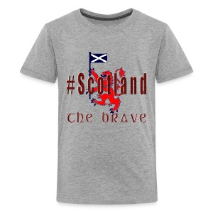 Hashtag Scotland lion red tartan teen's brave t-shirt - Teenage Premium T-Shirt