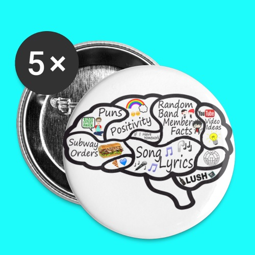 My Brain 32mm Badges 5 Pack - Buttons medium 32 mm