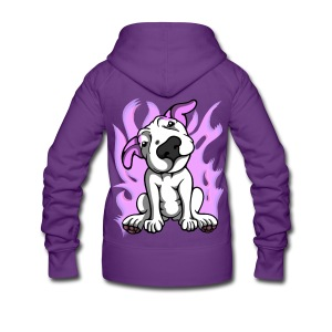 Pink Flames Bull Terrier - Women's Premium Hooded Jacket