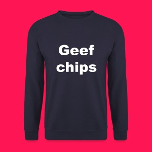 Mannen sweater 'Geef chips' - Mannen sweater