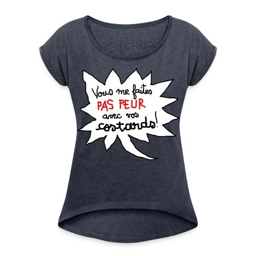 Encolure danseuse - T-shirt à manches retroussées Femme