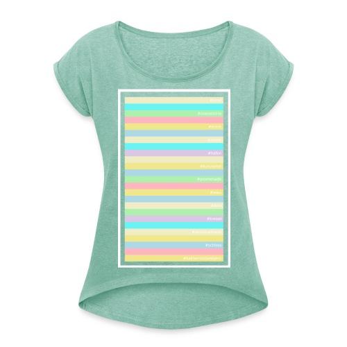Pastell Kalinen Shirt - Frauen T-Shirt mit gerollten Ärmeln