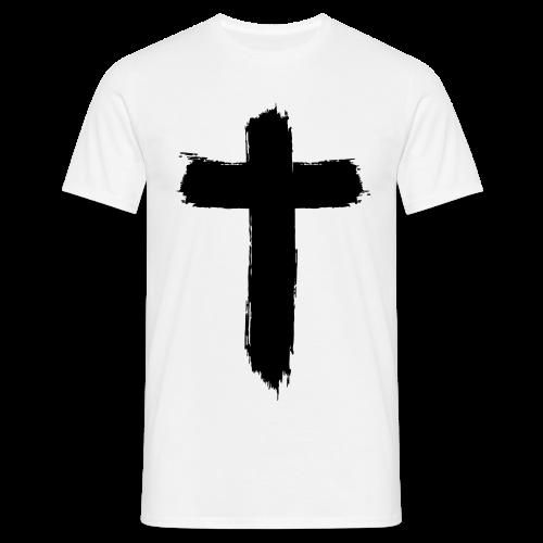 Brushed Cross (White) - Männer T-Shirt