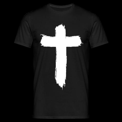 Brushed Cross (Black) - Männer T-Shirt