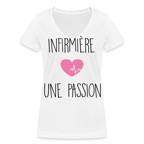 Tshirt Passion - Team Nurse - T-shirt bio col V Stanley & Stella Femme