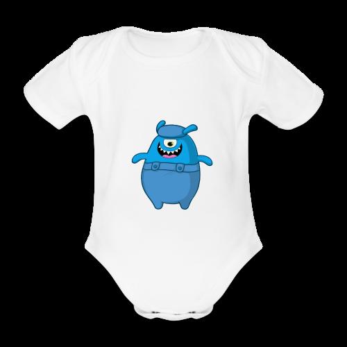 Little Blue Monstor Baby Cloth - Organic Short-sleeved Baby Bodysuit