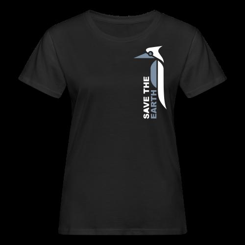 Ökoladyshirt - Safe the earth silver/white - Frauen Bio-T-Shirt