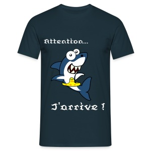 T-Shirt requin Attention... j'arrive ! bleu - T-shirt Homme