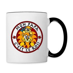 Tasse bicolore Lion, Mon Papa c'est le Roi - Tasse bicolore