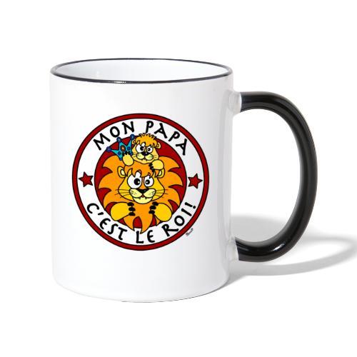 Tasse bicolore Lion, Mon Papa c'est le Roi - Mug contrasté