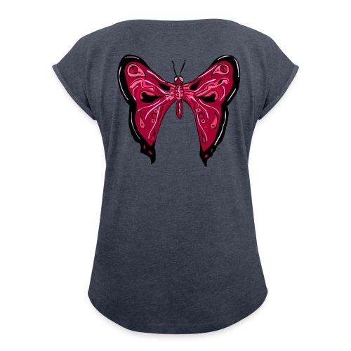 papillon rose - T-shirt à manches retroussées Femme