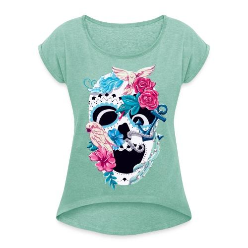 Skull Floral - Frauen T-Shirt *mint - Frauen T-Shirt mit gerollten Ärmeln