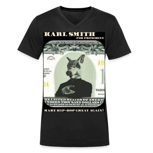 MAKE HIP-HOP GREAT AGAIN Karl Smith, the Rich Pig T-Shirt  - Männer Bio-T-Shirt mit V-Ausschnitt von Stanley & Stella