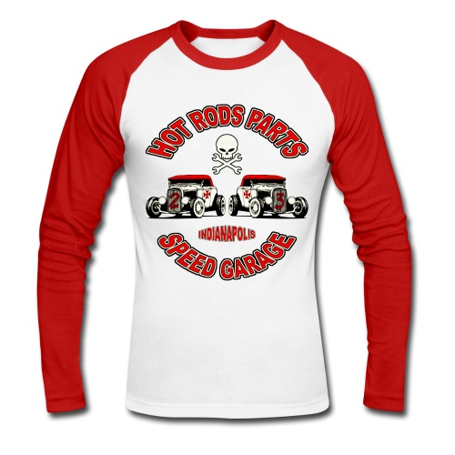 Vintage Hot Rods Parts design - Men's Long Sleeve Baseball T-Shirt