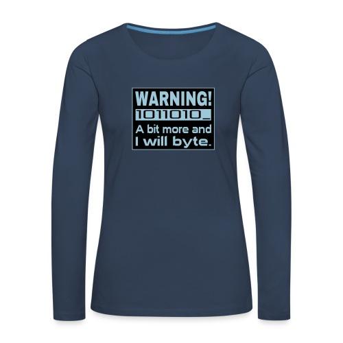 Warning Nerd Spruch Shirt - Frauen Premium Langarmshirt