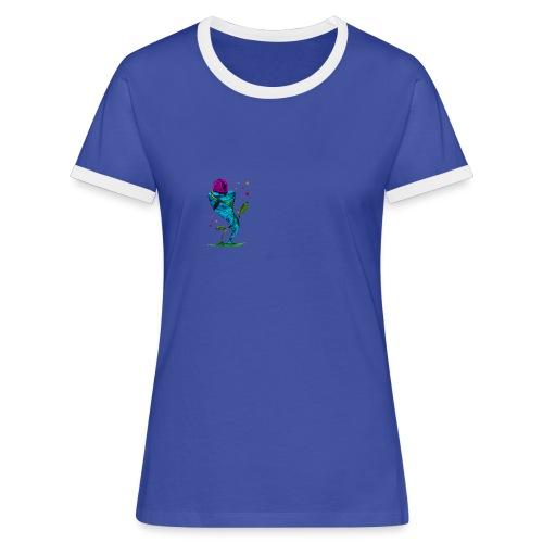 Blume & Sturm - Frauen Kontrast-T-Shirt / Blau/Weiß - Frauen Kontrast-T-Shirt