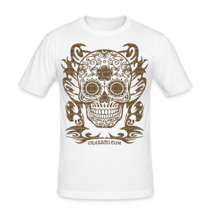 SKULL FLOWERS LEO - Männer Slim Fit T-Shirt
