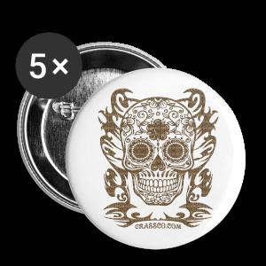 SKULL FLOWERS LEO - Buttons groß 56 mm