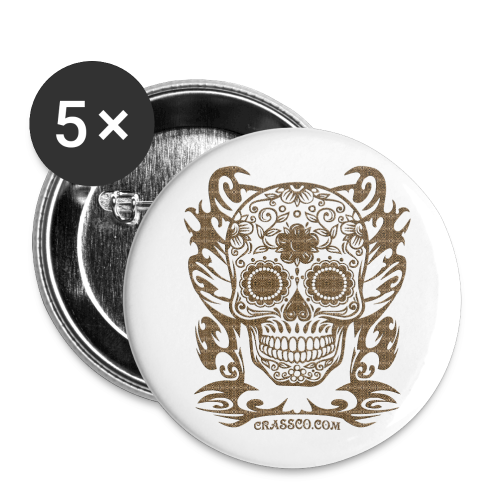 SKULL FLOWERS LEO - Buttons groß 56 mm