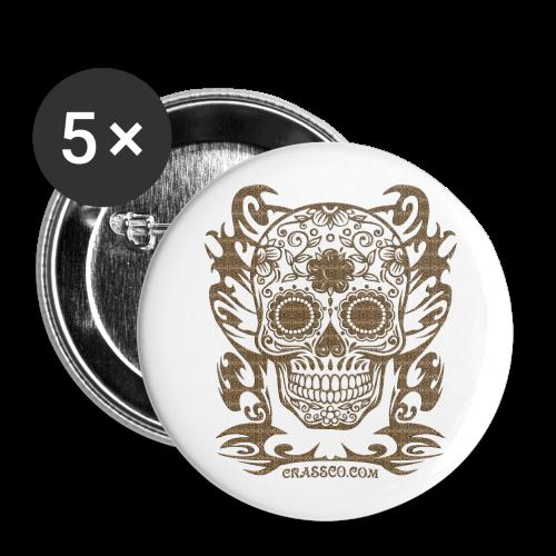 SKULL FLOWERS LEO - Buttons groß 56 mm (5er Pack)