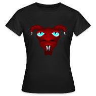 Tee shirts ~ Tee shirt Femme ~ Tête d'alien à cornes rouge