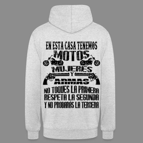 Motos, Mujeres y Armas - Sudadera con capucha unisex