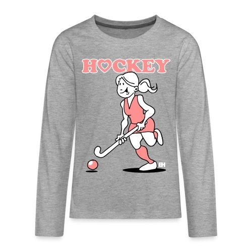 Jag älskar landhockey. En hockey flicka. Långärmade T-shirts - Teenagers' Premium Longsleeve Shirt
