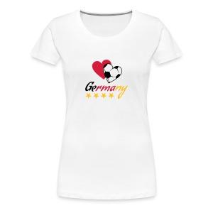 Frauen T-Shirt Fußball Herzen Germany - Frauen Premium T-Shirt