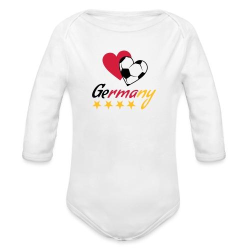 Baby Langarm-Body Fußball Herzen Germany - Baby Bio-Langarm-Body