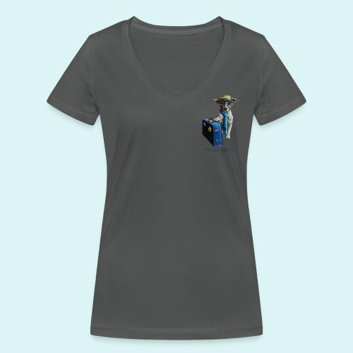 Traveling Dog- Ladies -V Neck - Women's Organic V-Neck T-Shirt by Stanley & Stella