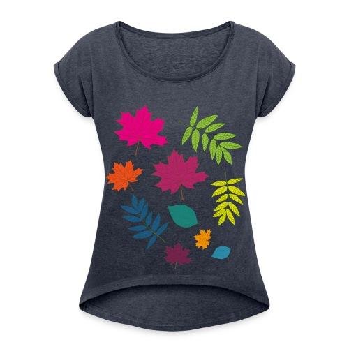 Bunte Blätter - Frauen T-Shirt mit gerollten Ärmeln