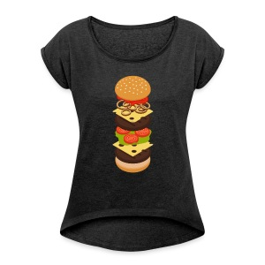 Isometric Burger Tower T-Shirts - Women - Women's T-shirt with rolled up sleeves