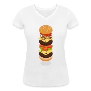 Isometric Burger Tower T-Shirts - Women - Women's Organic V-Neck T-Shirt by Stanley & Stella