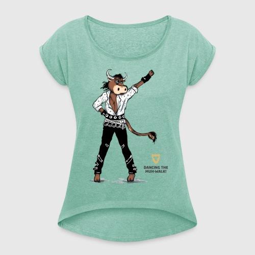 Shirt Damen –Dancing Ox - Frauen T-Shirt mit gerollten Ärmeln