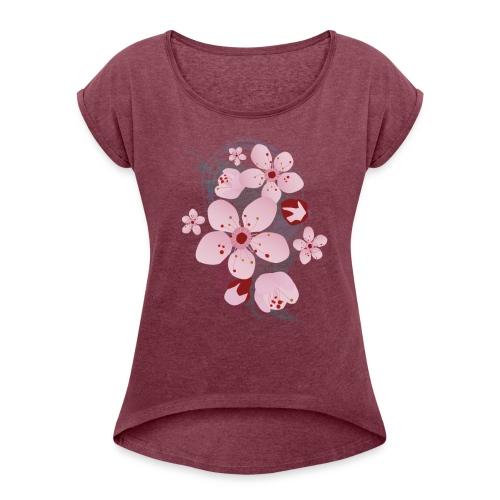 Kirschblüten - Frauen T-Shirt mit gerollten Ärmeln